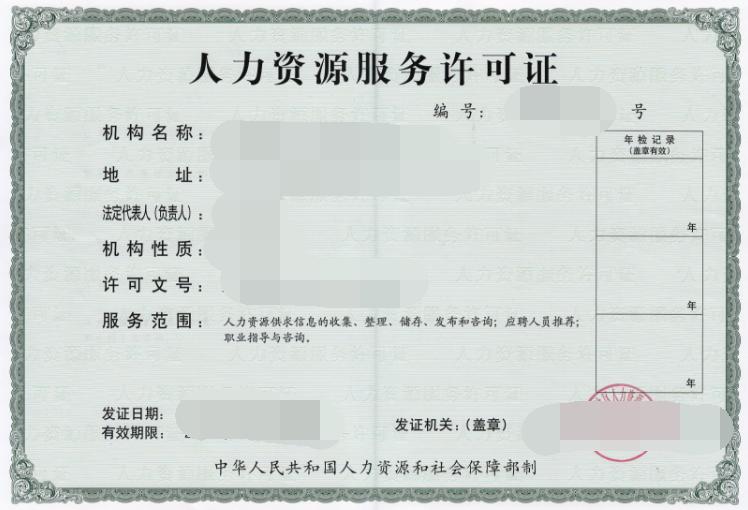 人力资源服务许可证申请条件