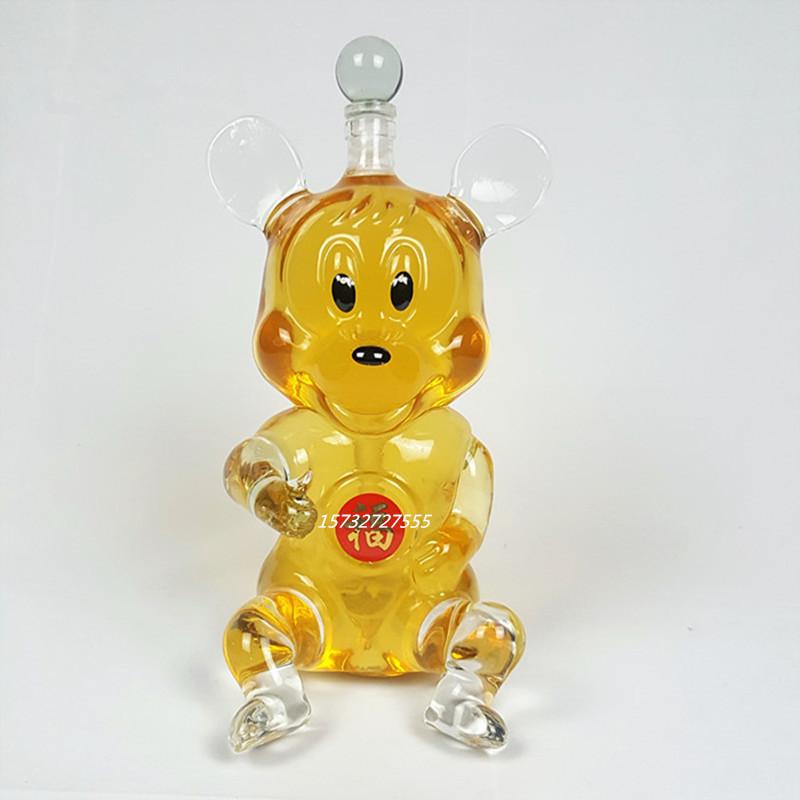 米奇造型玻璃瓶创意老鼠工艺瓶生肖玻璃白瓶异形玻璃瓶