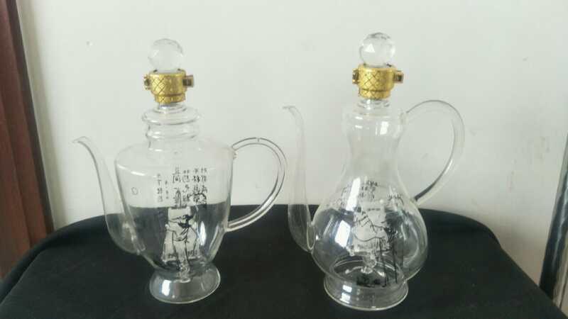 手工制作带小船造型壶玻璃壶工艺瓶个性吹制玻璃泡参瓶