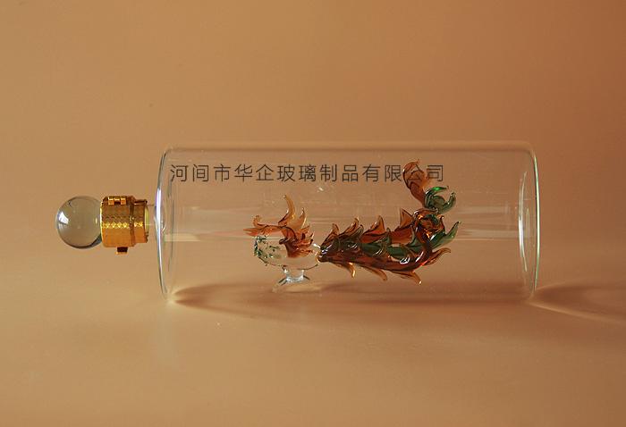 高鹏硅吹制凤凰造型玻璃工艺瓶吹制玻璃凤凰瓶泡器参瓶