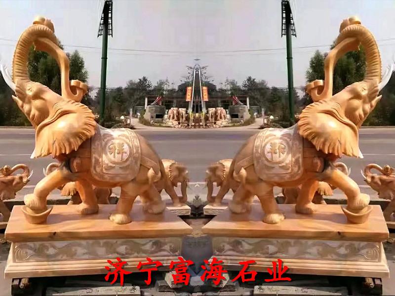 乐陵花岗岩石雕大象城市园林雕塑厂家联系电话-业务面向全国