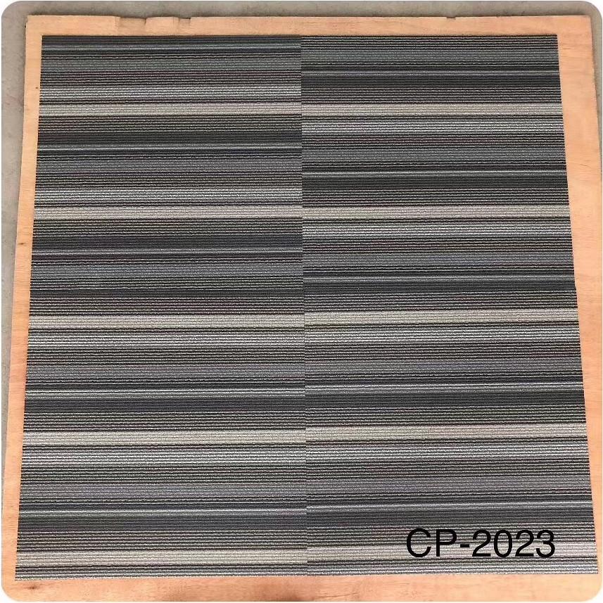 佛山供应仿地毯PVC地胶厂家定制工程办公室方块横条纹石塑地砖